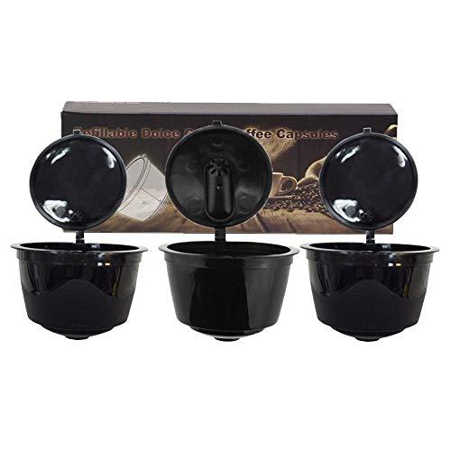 QCY AT Nachfüllbar Kaffeekapsel Cup 3 Wiederverwendbare Kaffeepads/Set mit Kaffeelöffel Bürste, Geeignet for Nestle Dolce Gusto Brewer-Black Ablage
