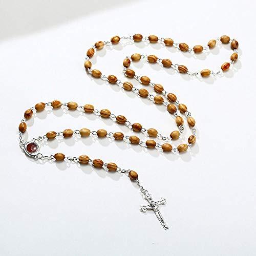 Collares Colgante Joyas Collar De Cuentas De Rosario De Piedra para Hombres, Crucifijo Cruzado, Joyería De Oración Religiosa Masculina Católica-Nc-575