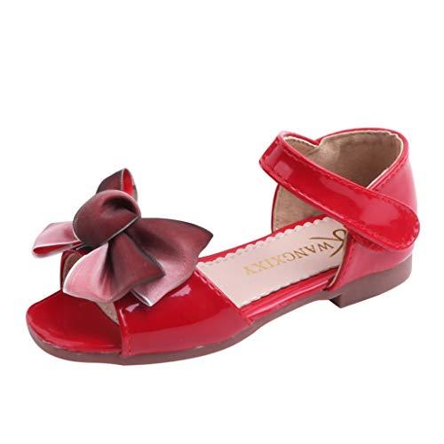 Fenverk Sandalen MäDchen Kindersandale Leder Innensohle Sandale Baby Prinzessin Blumen Sommer Schuhe Sandaletten Gute QualitäT Schnee KöNigin Gelee Partei(rot,26)