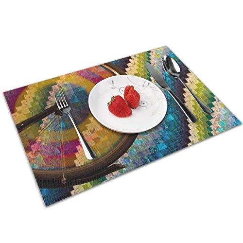Hangdachang Farbige Autoreifen Tischsets für Esstisch 4-teiliges waschbares Polyester 12x18 Hitzebeständig für Küchen-Esstisch-Dekorationsmatten