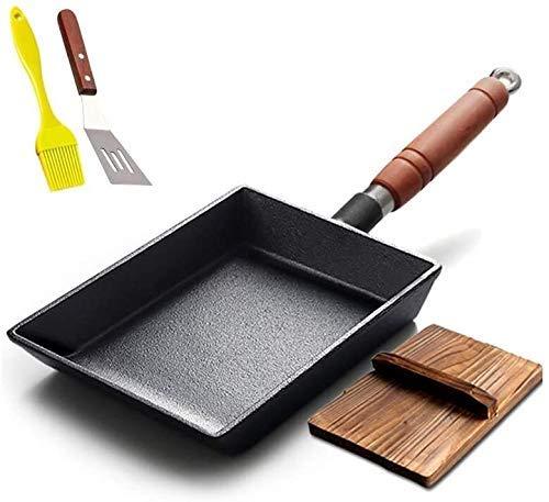 IUYJVR Sartén para Tortillas sartén Antiadherente de Hierro Fundido para el hogar con Tapa de Madera 19,5 * 14,5 cm fácil de Limpiar