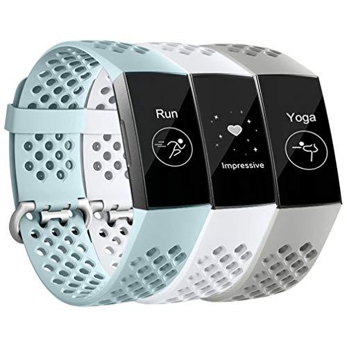 Wepro für Fitbit Charge 3 Armband/Fitbit Charge 4 Armband, Atmungsaktiv Wasserdichter Sport Ersatz aus Weichem Silikon Armband für Fitbit Charge 3 / Charge 4 / SE, L Weiß/Aqua/Grau