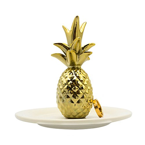 Fans Face Ceramic Pineapple Jewelry Rings Holder Tray Dish Plate Organizer Home Decor