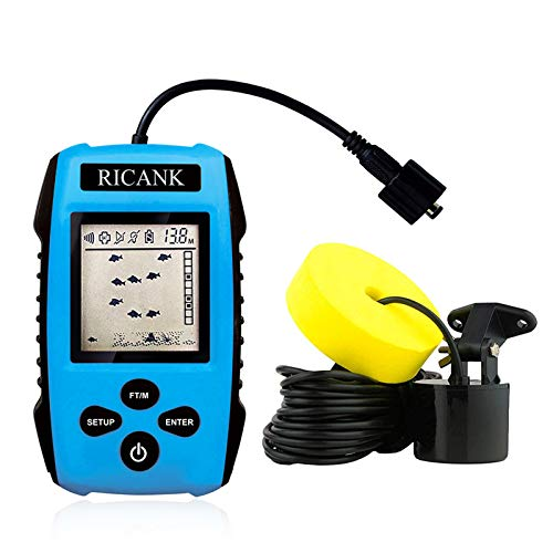 RICANK Portable Fish Finder, Handheld Wired Fish Depth Finder Ice Kayak Fishfinder Shore Boat Fishing Fish Detector Device with Sonar Sensor Transducer and LCD Display Gear Fish Depth Finder Blue