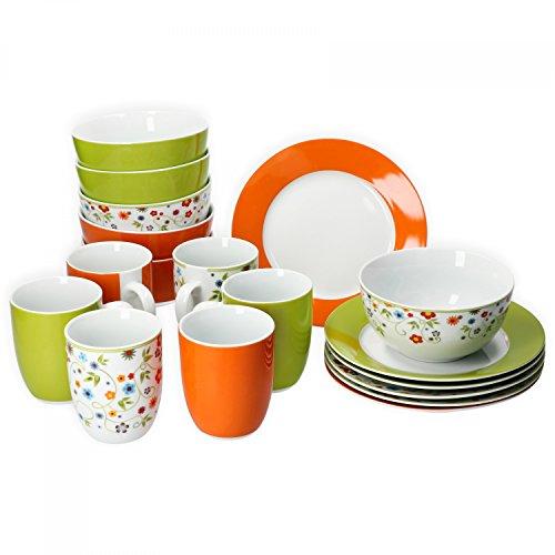 Van Well Frühstücksset 18-TLG. für 6 Personen Serie Vario Porzellan - Farbe wählbar, Farbe:grün/orange/Flower