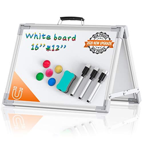 Tableau Blanc Magnétique Double Face - Pliable Mini Tableau Blanc Aimants avec Stylos et Eponge pour Ecole, Maison, Office, 30 x 40 cm