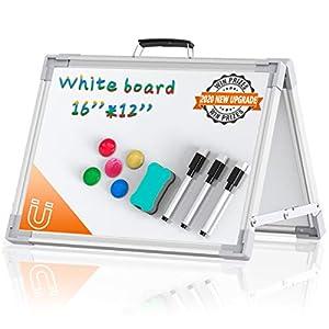 Pizarra Magnética Blanca Doble Cara – Plegable Pizarra Borrable con Bolígrafos y Esponja para Escuela, Hogar, Oficina…