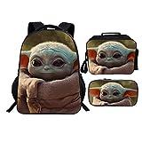 Baby Yoda Mochila Casual Niños mochilas escolares 3 Piezas Conjuntos de bolsas...