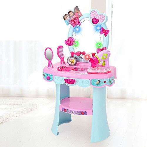 Tocador para nios Princesa Sonido y luz Maquillaje Tocador Casa de juegos Princesa Simulacin Cosmticos para nios Juguete Regalo Tocador para nios Juguete (Color: Azul, Tamao: 56x32x23c