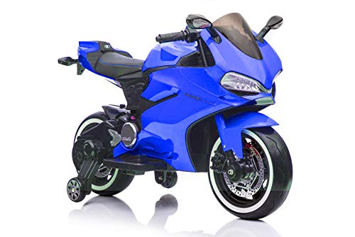Fit Right 12V Kids Bike Ride On Toys Dirt Bike Motorcycle, Electric Mini Bike with Bluetooth, LED Wheels and Traning Wheels, Support Up to 66 lbs  (Blue)
