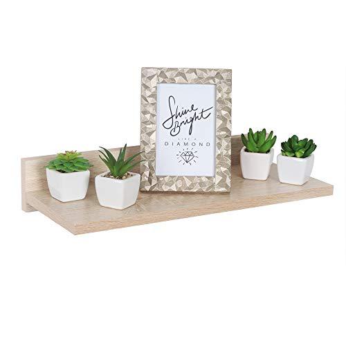 RICOO WM056-ES Wall Shelf 45 x 8 x 19 cm Wooden Shelf Sonoma Oak Brown Bookcase Organiser Bookcase Wall Shelf Plant Shelf Living Room