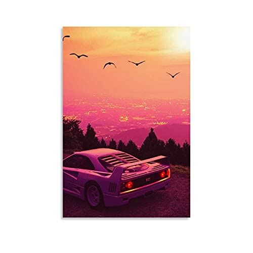 GUOHUI Póster de coche F40 Gran Turismo Sport Car Canvas Art Picture Modern Office Family Bedroom Póster decorativo de regalo para decoración de pared