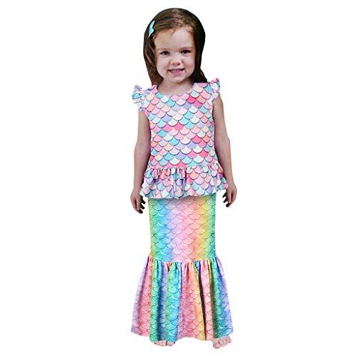 Kleinkind Kind Baby Mädchen Multicolor Scale Print Shirt Tops Rüschen Rock Outfit