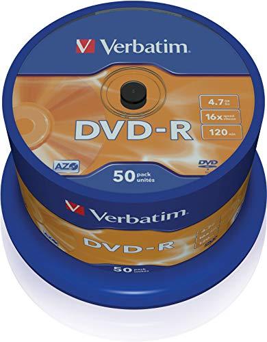 Verbatim DVD-R - 4.7 GB, 16-fache Brenngeschwindigkeit mit langer Lebensdauer und Kratzschutz, 50er Pack Spindel, mattsilber