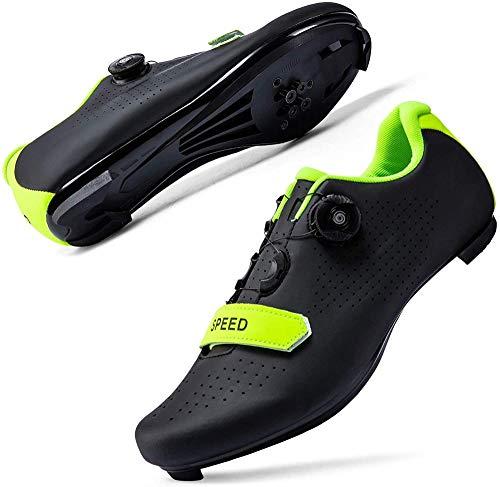 JINFAN Zapatillas de Ciclismo para Mujer Hombre Carretera SPD Bike Zapatillas de Ciclismo Spin Shoestring con Compatible SPD Look Delta Cycle Riding Cleat Zapatillas Peloton,Black-46EU