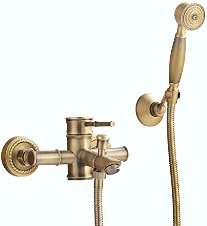 Dusche Wasserhahn ZQG Antike Kupfer badewanne einfache heie und kalte dusche Bad mischventil Bambus dreibettzimmer Set Baden Kopf Booster dusche gesetzt (Größe   C)