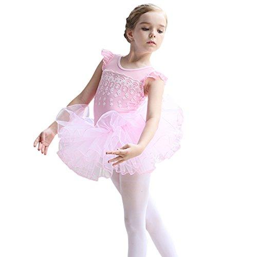 OBEEII Vestido Maillot de Ballet Danza Leotardo Traje de Ballet de Tul Gimnasia Danza Infantil 001 Rosa 4-5 Años