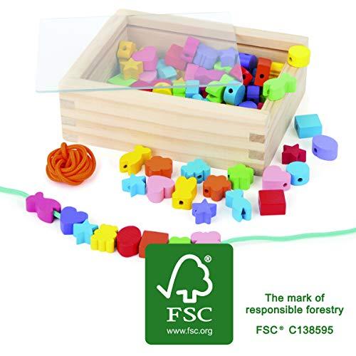 7594 Inserto creativo small foot, con perline di legno in molti colori e forme, nastri inclusi, a partire da 3 anni.