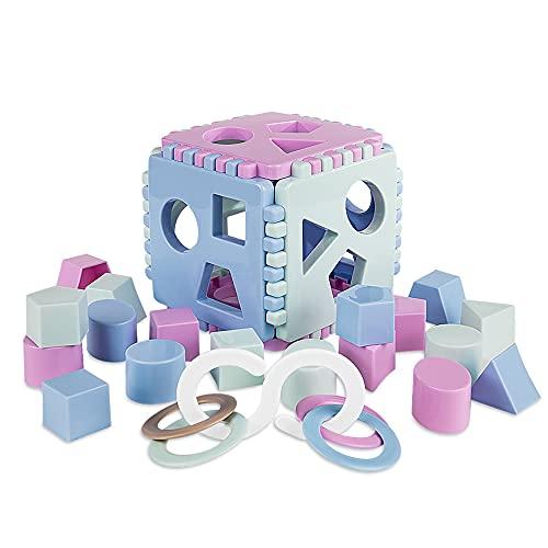 Mimtom Cube de Tri de Formes pour Enfants et Bébés Composé de 18 Formes | Jouet Éducatif Fabriqué en Europe pour Les 1-3 Ans - Violet, Bleu et Vert