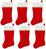 Iconikal Felt 18-Inch Christmas Stocking, Red with Gold Trim, 6-Pack