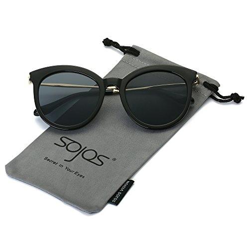 SojoS Schick classici ponti retrò Specchio rotondo occhiali da sole donne SJ2034 con Nero Telaio/Grigio Lente