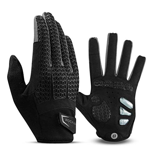 ROCK BROS Road Bike Gloves Cycling Gloves for Men Women Bicycle Gloves Full Finger Workout Commuter Gloves with Gel Padded Shock Absorbing, Touch Screen Anti Slip for Climbing Biking Ridding Gray
