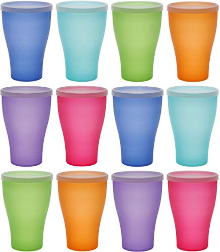 idea-station NEO Kunststoff-Becher 12 Stück, 450 ml, bunt, Deckel, mehrweg, bruchsicher, Plastik-Becher, Party-Becher, Trink-Becher, Party-Geschirr, Camping-Geschirr, Trink-Gläser, Kinder