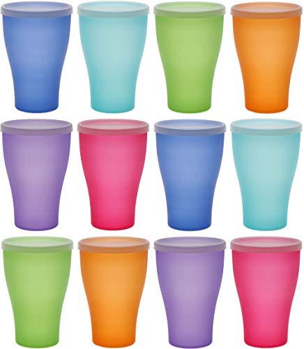 idea-station Neo Vasos plastico 12 Piezas, 450 ml, Colorido, Cubierta, Reutilizable, inastillable, Duro, vajilla, Tazas, Copas, Vaso, niños, Infantiles, de Agua, cóctel, Fiesta