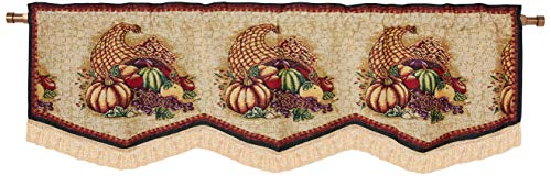 """HomeCrate Fall Harvest Collection, Cornucopia, Pumpkins and Fruits Design, Tapestry 60"""" x 15"""" Window Valance"""
