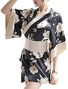 Women s Sexy Japanese Kimono Cosplay Costume Flower Deep V Lingerie Nightgown Pajamas Bathrobe Bathrobe Bedroom Pajamas Clothes  Black