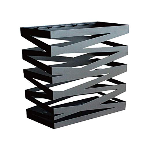 WYJW Square metalen paraplustandaard met haak, paraplustandaard op de voordeur, organizer voor wandelstokken, wandelstokken, wit