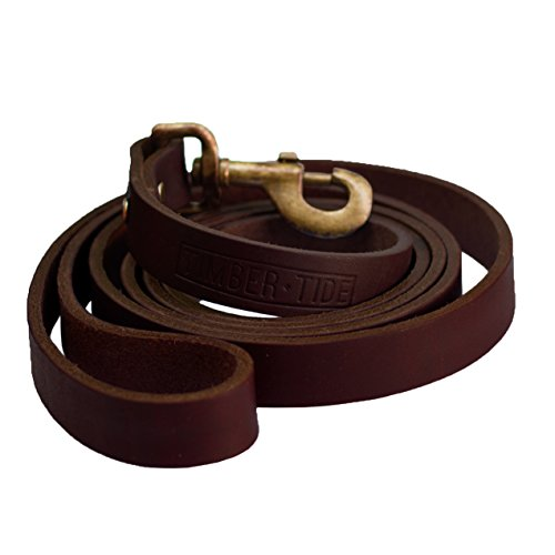Timber and Tide Outdoor Co - Premium Heavy Duty Leather Dog Leash - 6 Foot Long x Almost 1 Inch Wide - Soft and Extra Strong Full Grain Leather - Great for Large and Medium Dogs