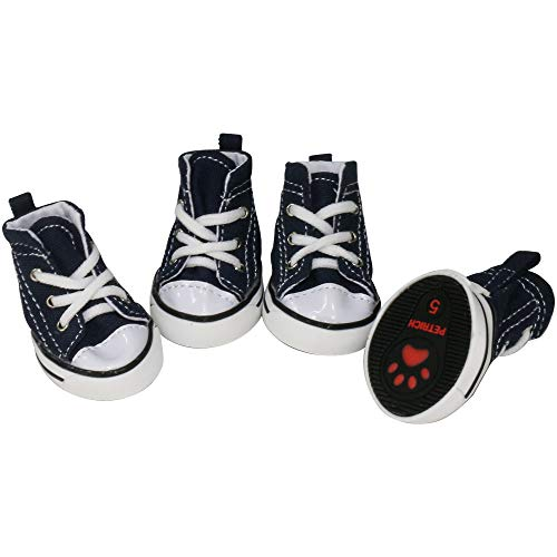 URBEST 4 Pcs Pet Dog Puppy Canvas Sport Shoes, Sneaker Boots, Outdoor Nonslip Causal Shoes (5#, Blue)