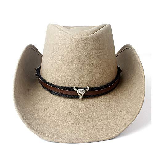 no-branded LJPEUR Sombrero de Vaquero Occidental de Cuero for Hombres y Mujeres for Caballero con Borde Superior Outblack Sombrero de papá Fedora Cap (Color : Tan, Size : 58-59)