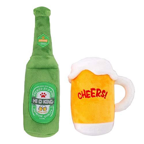 seasonsun Juguete para perros, juguete de peluche con sonido para mascotas, botella de cerveza, jarra de cerveza, divertido juguete para perros pequeños y medianos.