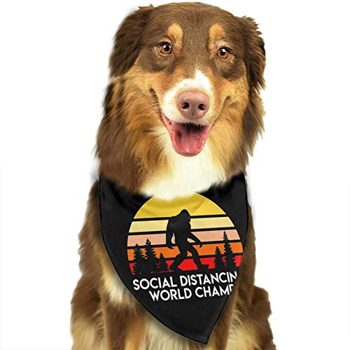 Social Distancing World Champ Funny Quarantine Dog Bandanas 1pc Washable Cotton Triangle Dog Scarfs for Dogs and Cats White