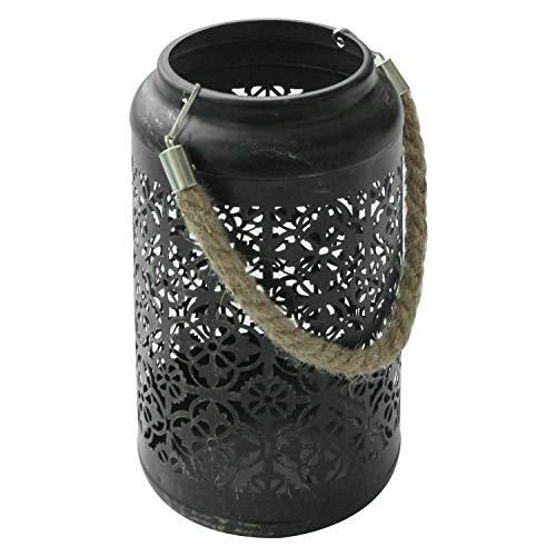 Laterne aus Metall Gartenlaterne Tischlaterne Dekoration in Schwarz 22x12x9,5cm