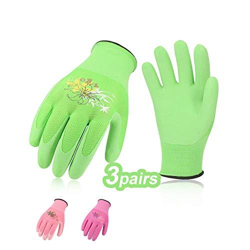 Vgo 3 Paare Arbeitshandschuhe mit Schaumlatex Gummibeschichtung, Garten- und Arbeitshandschuhe, Weiblich (7/S, Violett & Grün & Rosa, RB6013)