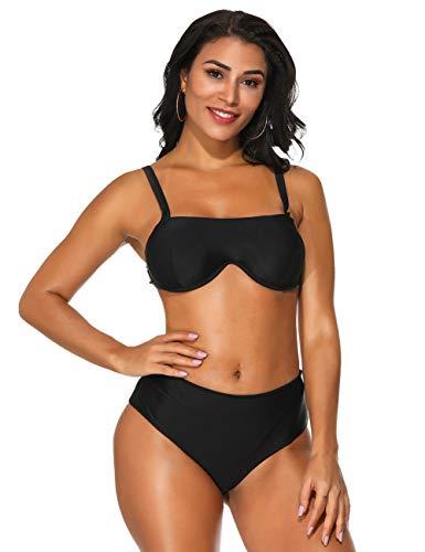 FeelinGirl Damen Bikini-Sets Bademode Bikini Push-up Bikinioberteil mit Nackenträger L Black