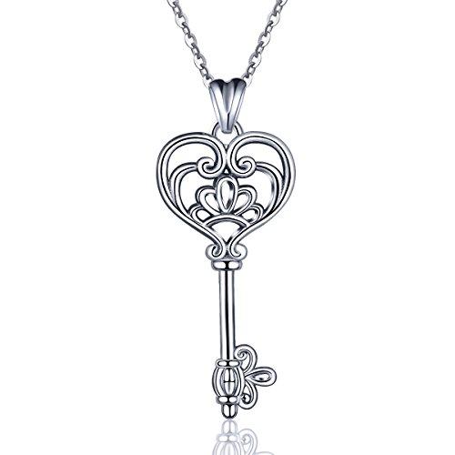EUDORA Halskette mit Anhänger in Schlüssel-Form, aus 925erSterlingsilber, Glücksbringer-Schlüssel mit Herz und Krone, für Frauen, Schmuckgeschenk, 45,7cm