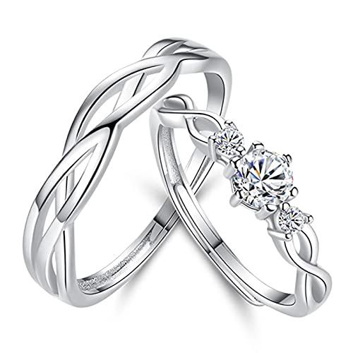 Anel de prata esterlina para casal, anel de casamento de tamanho ajustável, anel de casal com embalagem requintada para recém-casados/esposas/cônjuges