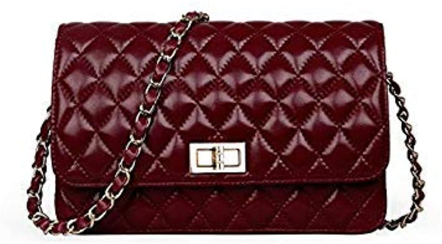 Bloomerang Genuine Leather Messenger Bag Chains Flap Bag Handbag Women 100% Sheepskin Classic Luxury Brand Crossbody Bag Black White color Dark red