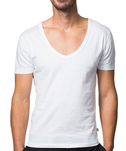 Collected Threads Men's Deep V-Neck Invisible Undershirts 3-Pack Large White jT-V
