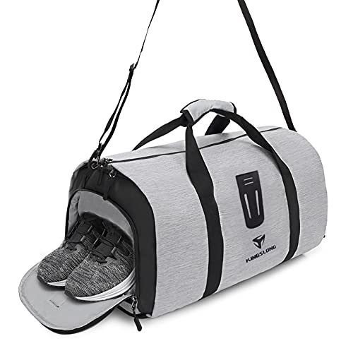 KINGSLONG Travel Duffel Bag Backpack Sports Gym Bag with Shoes Compartment Weekend Overnight Camping Bag Carry on Backpack 45L Gray
