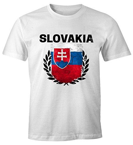 MoonWorks EM WM T-Shirt Herren Fußball Slowakei Flagge Vintage Slovakia Fanshirt Fan Shirt weiß XS