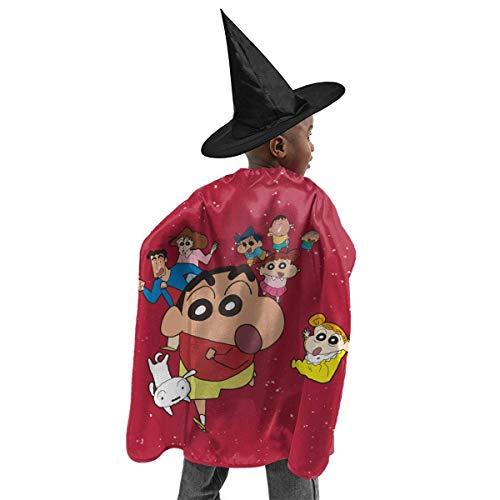 HYJUK Crayon Shin Chan Dibujos Animados Anime 3D Disfraz de Halloween para nios Capa de Mago Sombrero de Bruja de Halloween Disfraz de Fiesta para nia y nio
