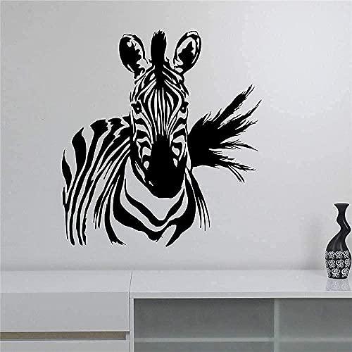 TJVXN Adhesivo de Pared Flor Cebra Vinilo Adhesivo Animal Salvaje Art Deco decoración Sala de Estar Dormitorio Pared Lindo 58X63Cm