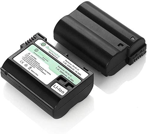 Powerextra Lot de 2 Remplacement Batteries Nikon EN-EL15 2200mAH pour Nikon D7200 D7100 D7000 D810 D800 D750 D610 D600 V1 Cameras