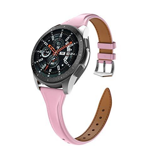 Isabake Correa de Cuero para Samsung Galaxy Watch 46mm/Gear S3 Classic/Gear S3 Frontier para Mujer, Correa de Reloj de 22mm de Ancho con Hebilla de Acero Inoxidable(22mm, Rosado)