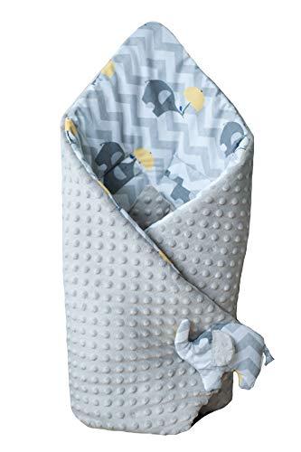 BlueberryShop coperta di pile Minky per avvolgere il bambino in macchina, Sacco a pelo double face per neonati, Destinato per i bambini da 0 a 3 mesi, 78 x 78 cm, Grigio